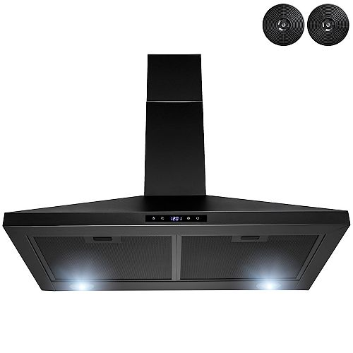 30 in. Kitchen Wall Mount Range Hood with LED and Touch control in Black Painted Stainless Stee