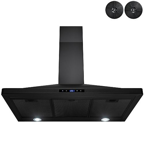 36 in. Kitchen Wall Mount Range Hood with LED and Touch control in Black Painted Stainless Stee