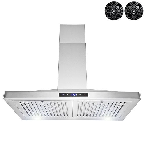 """30"""" Wall Mount Range Hood in Stainless Steel with LED Lights,Touch Panel and Carbon Filters"""