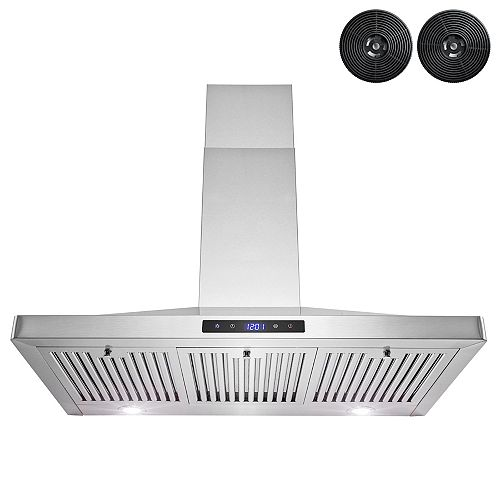 """36"""" Wall Mount Range Hood in Stainless Steel with LED Lights,Touch Panel and Carbon Filters"""