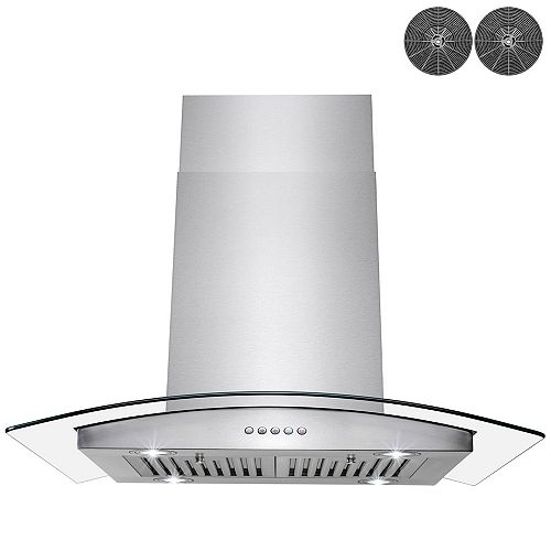 """36"""" Island Mount Range Hood in Stainless Steel with Tempered Glass, Carbon Filters and Push Button"""