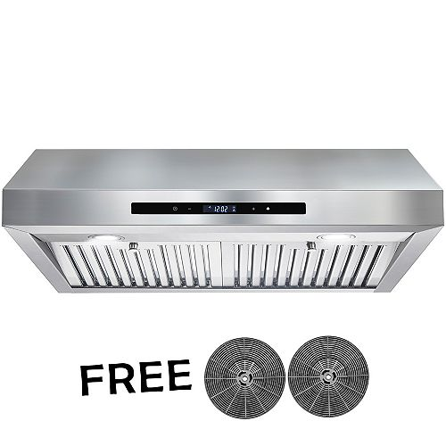 30 in. Kitchen Convertible Under Cabinet Range Hood in Stainless Steel with LEDs and Touch Panel