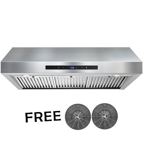 36 in. Kitchen Convertible Under Cabinet Range Hood in Stainless Steel with LEDs and Touch Panel