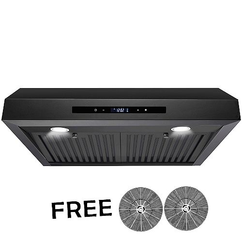 """30"""" Convertible Under Cabinet Range Hood in Black Painted Stainless Steel with Carbon Filters"""