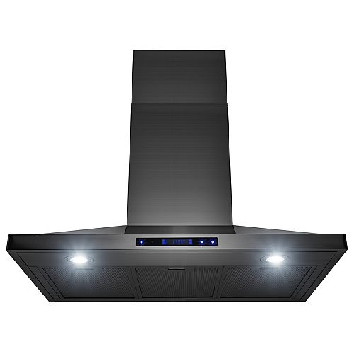 36 in. Wall Mount Black Stainless Steel Kitchen Range Hood with Touch Panel and LEDs