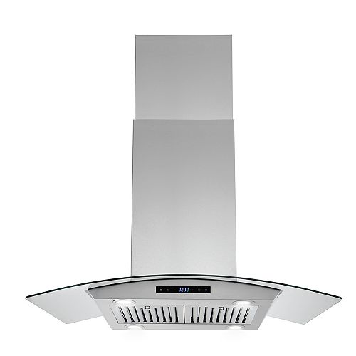 """36"""" Island Mount Range Hood in Stainless Steel with Tempered Glass, Carbon Filters and Touch Panel"""