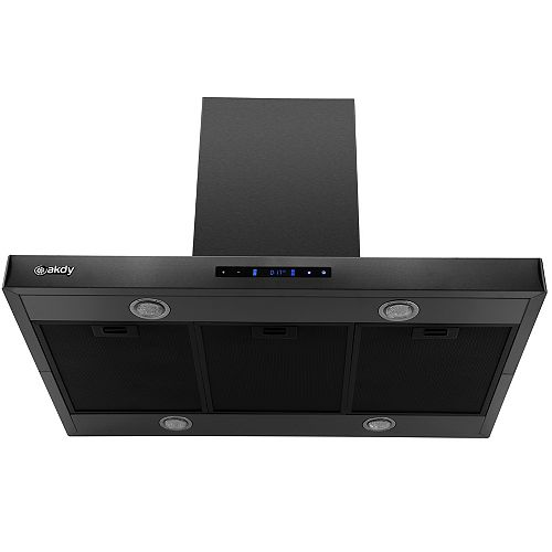 36 in. 343 CFM Convertible Island Mount Range Hood with LED Lights in Black Stainless Steel