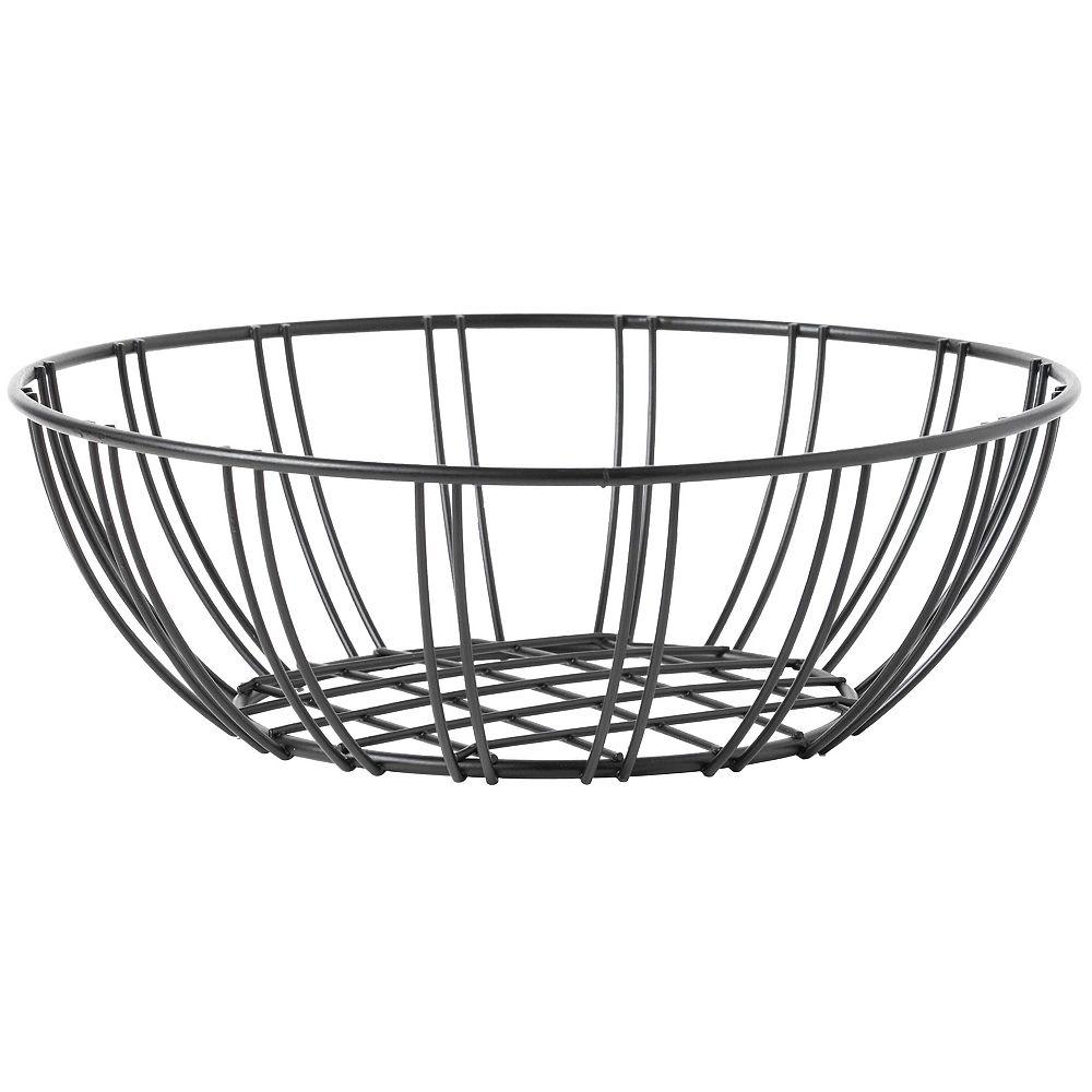Basicwise Black Wire Iron Basket Fruit Bowl