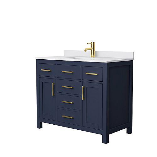 Beckett 42 inch Dark Blue Single Vanity, White Cultured Marble Top