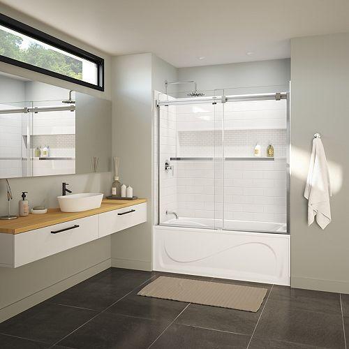 NexTile 60-in x 30-in x 81.25-in Tub Shower Kit, Cocoon Left Drain Bath, Chrome Duel Door