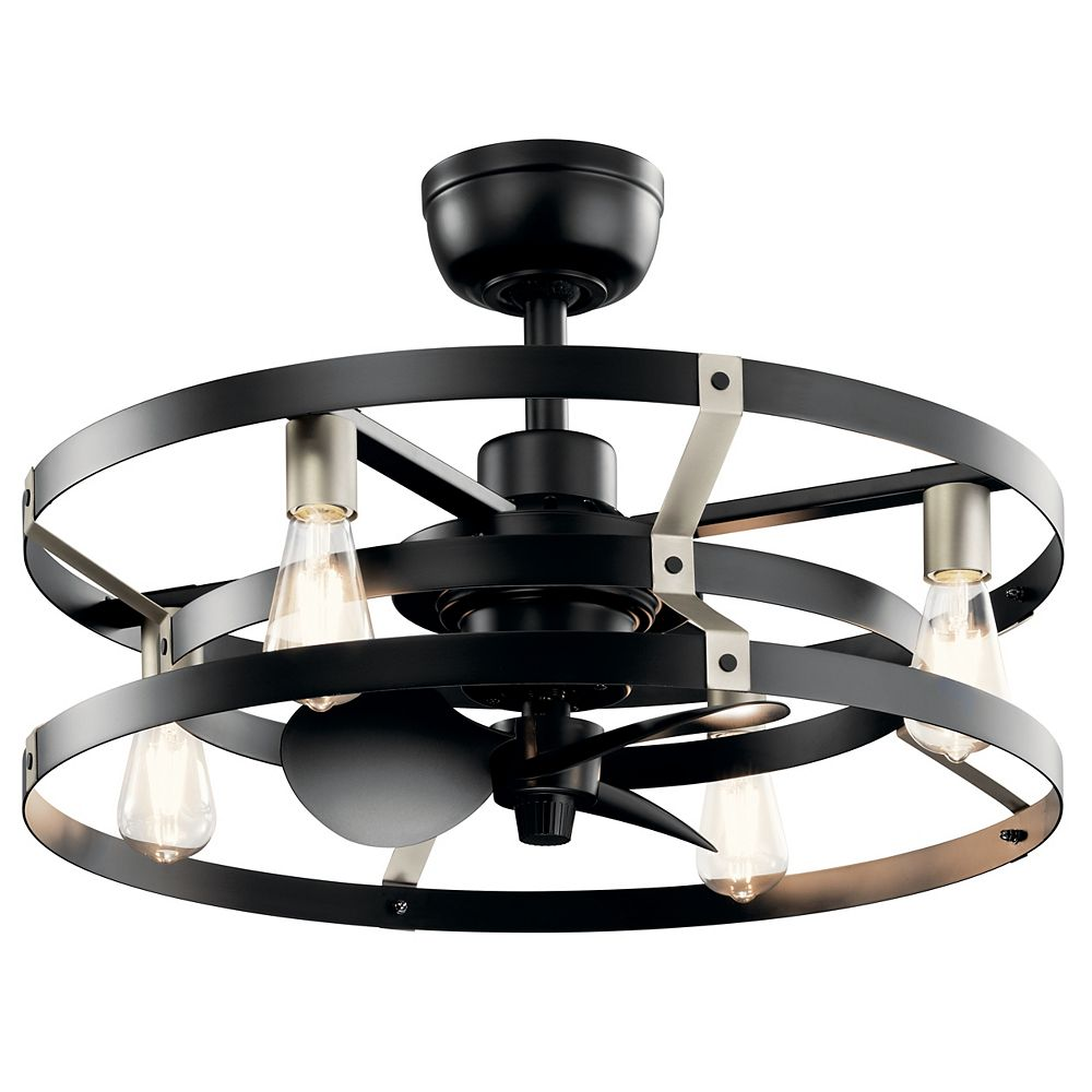 Kichler Cavelli 13-inch LED Indoor Satin Black Ceiling Fan with Light with Wall Switch