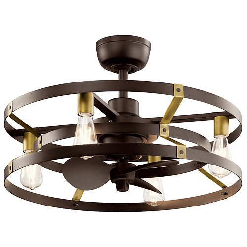 Cavelli 13-inch LED Indoor Satin Natural Bronze Ceiling Fan with Light with Wall Switch