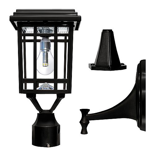 Prairie Bulb 1-Light Outdoor Weathered Black Solar Post Light with Pier and Wall Mounting Options
