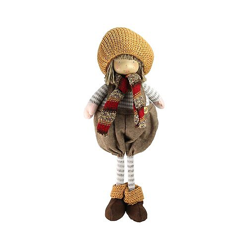 """15"""" Standing Autumn Boy Gnome with Scarf and Pumpkin Hat Thanksgiving Figure"""
