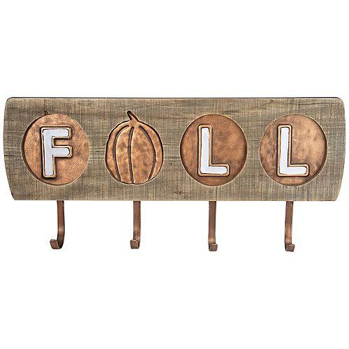 """Décoration murale à crochets en bois et en métal de 16 """", citrouille brune et blanche"""" automne """""""