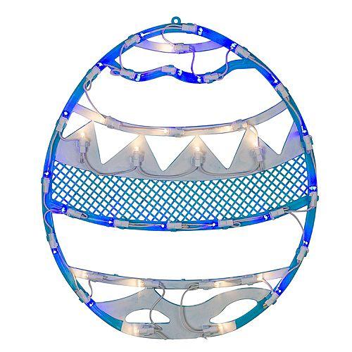 "17"" LED Lighted Blue Easter Egg Spring Window Silhouette Decoration"