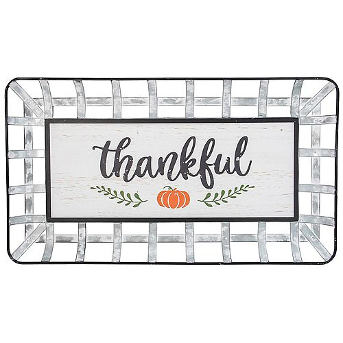 """Silver and White With a Pumpkin """"Thankful"""" Rectangular Fall Wall Decor"""