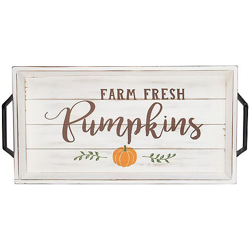 "16.75"" White and Brown ""Farm Fresh Pumpkins"" Thanksgiving Wood Tray"