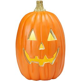 16-inch Lighted Pumpkin Halloween Decoration with White Teeth