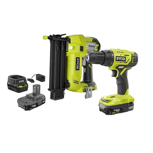18V ONE+ Lithium-Ion Cordless 1/2-inch Drill and 18-Ga. Brad Nailer Kit with (2) 1.5 Ah Batteries