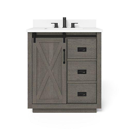 Hawkley 30-inch Single Sink Vanity in Grey with Engineered Stone Top