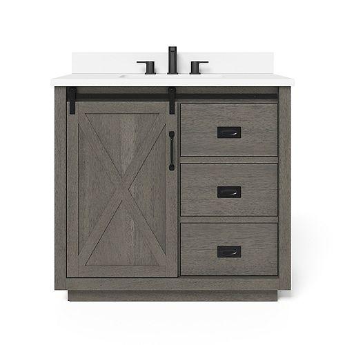 Hawkley 36-inch Single Sink Vanity in Grey with Engineered Stone Top