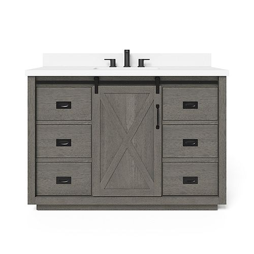 Hawkley 48-inch Single Sink Vanity in Grey with Engineered Stone Top