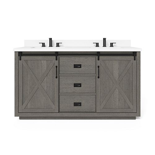Hawkley 60-inch Double Sink Vanity in Grey with Engineered Stone Top