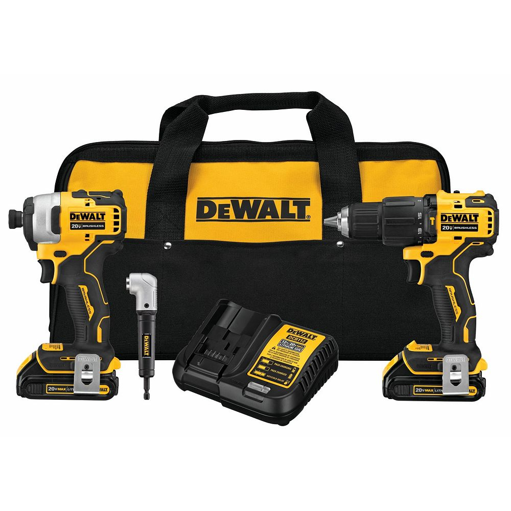 DEWALT 20V MAX ATOMIC Lithium-Ion Cordless Brushless Hammer Drill and Impact Combo Kit with Right Angle Attachment, (2) 1.5Ah Batteries, Charger and Bag