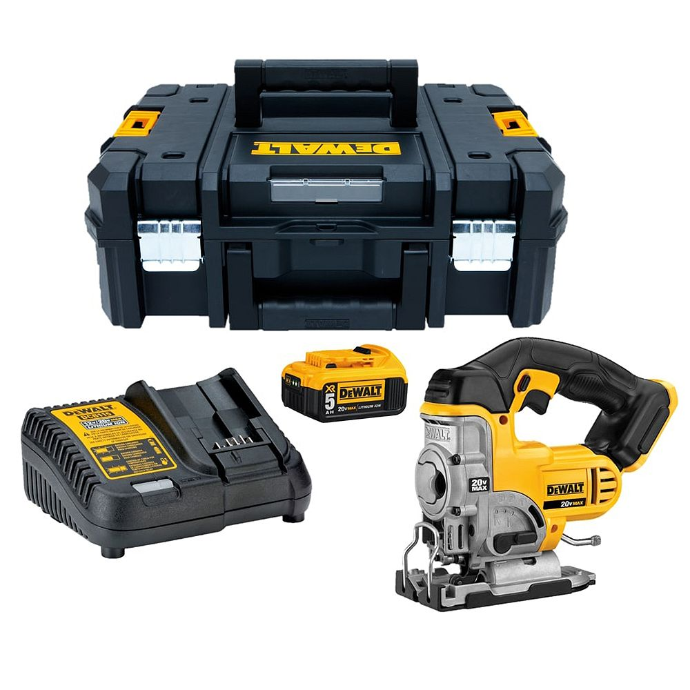 DEWALT 20V MAX Lithium-Ion Cordless Jig Saw Kit with 5Ah Battery, Charger and T-Stak Case