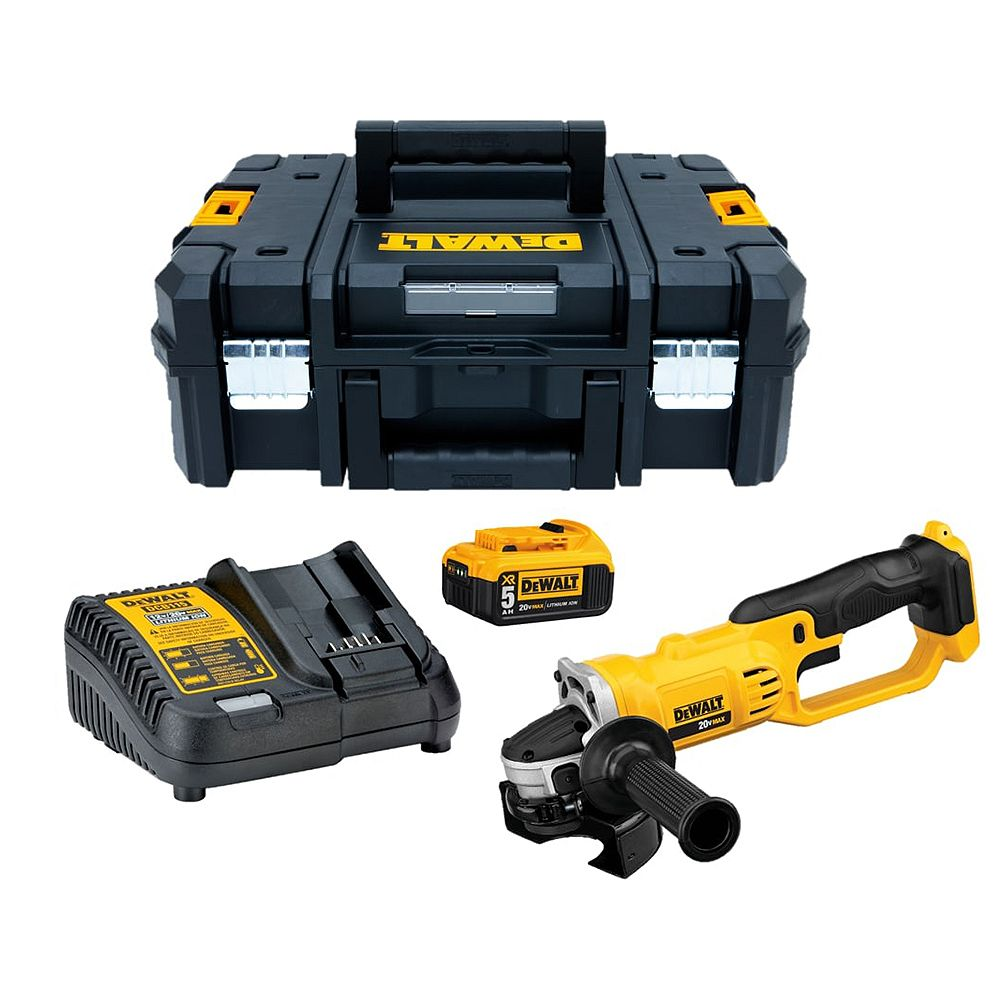 DEWALT 20V MAX Lithium-Ion Cordless 4-1/2-inch to 5-inch Grinder Kit with 5Ah Battery, Charger and T-Stak Case