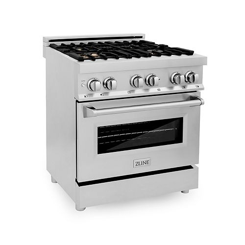 ZLINE 30 in. Professional 4.0 cu. ft. Dual Fuel Range in Stainless Steel with Brass Burners
