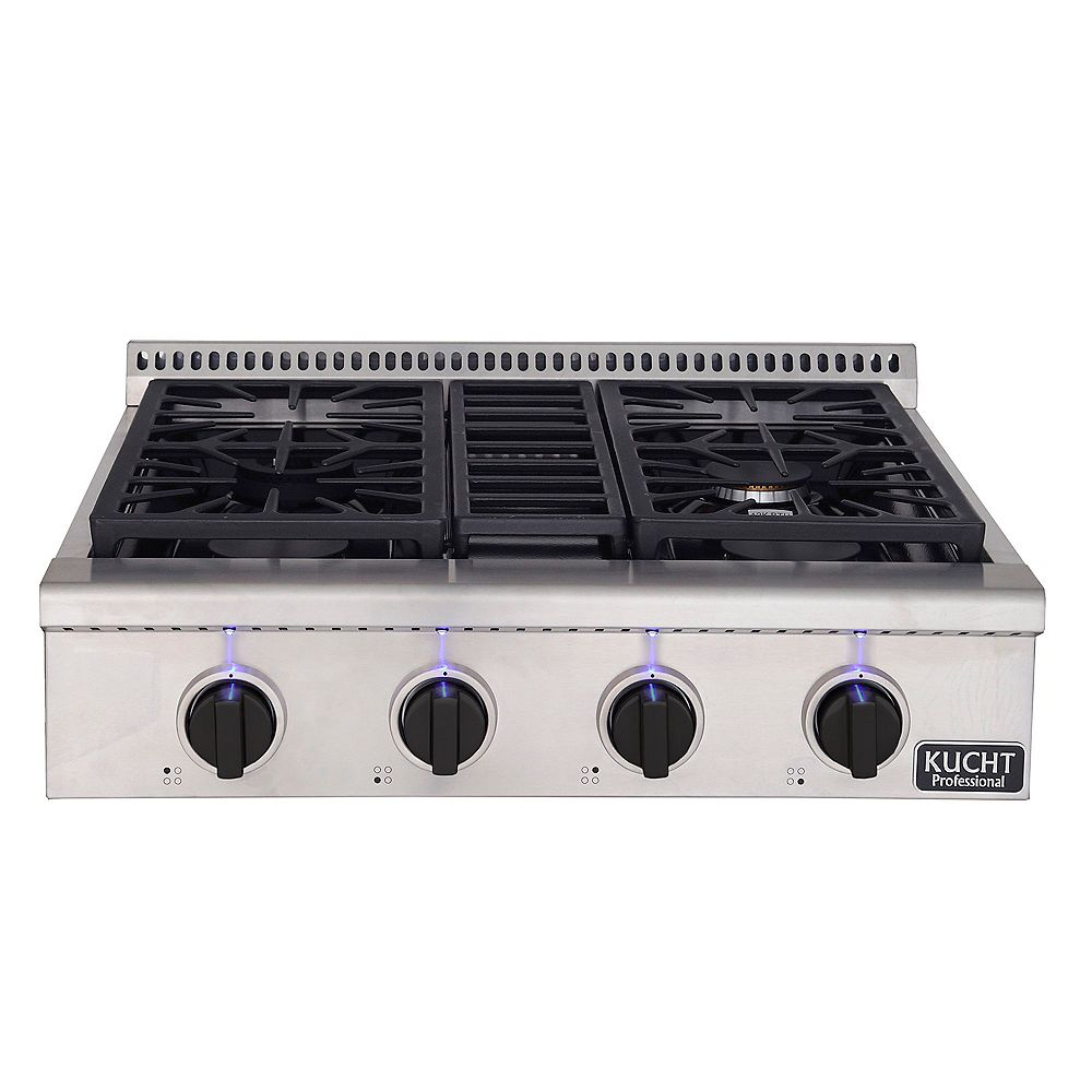 Kucht 30-in Propane Gas Range-Top with Sealed Burners with Tuxedo Black Knobs