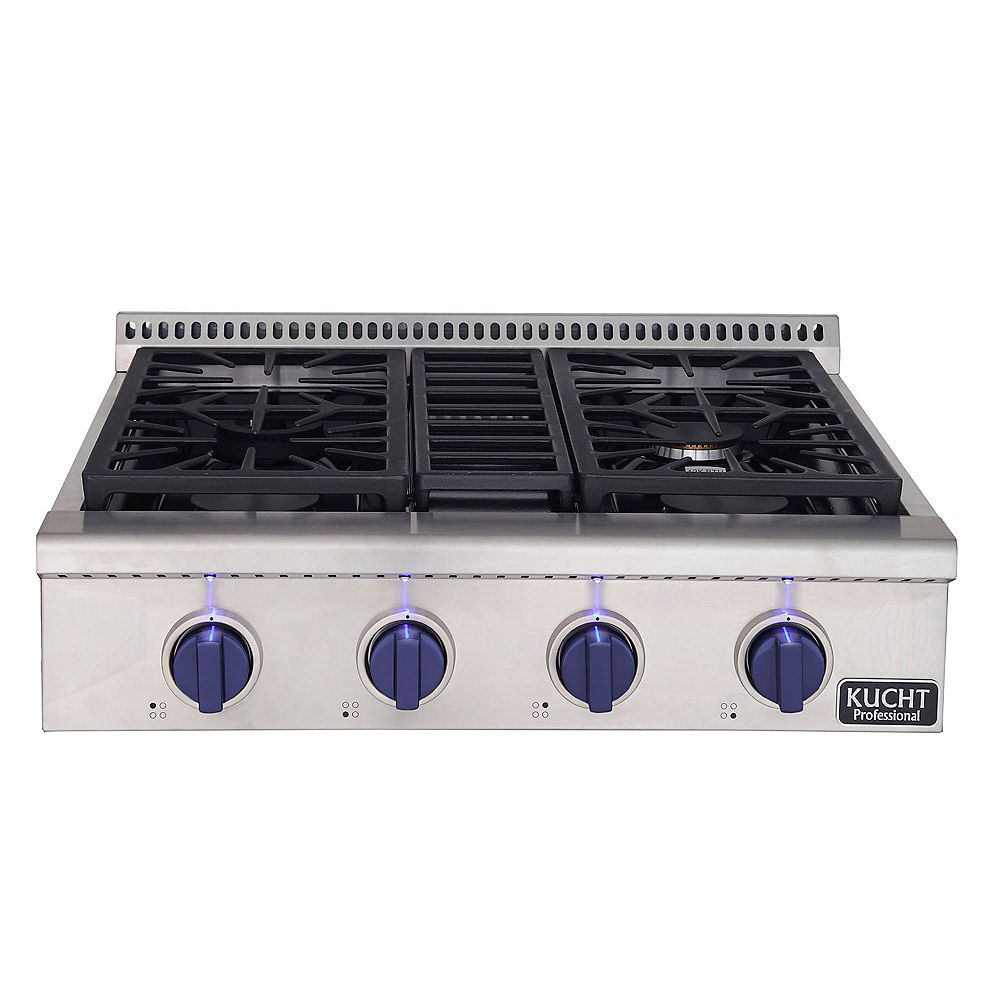 Kucht 30-in Natural Gas Range-Top with Sealed Burners with Royal Blue Knobs