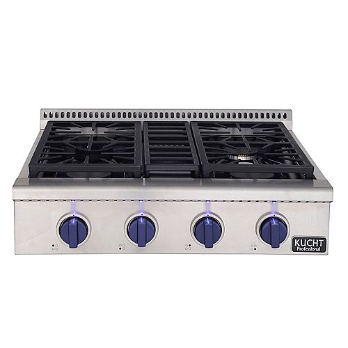 30-in Natural Gas Range-Top with Sealed Burners with Royal Blue Knobs