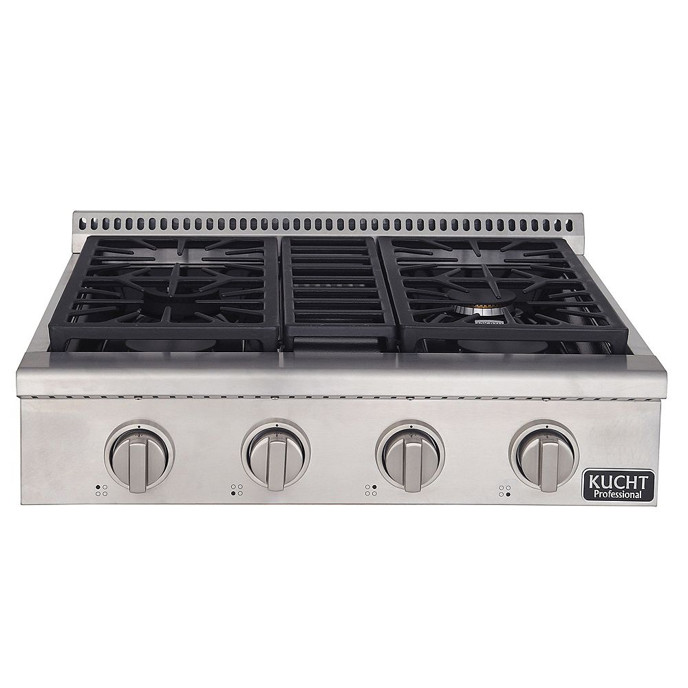 Kucht 30-in Natural Gas Range-Top with Sealed Burners with Classic Silver Knobs