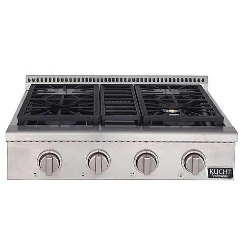 30-in Natural Gas Range-Top with Sealed Burners with Classic Silver Knobs