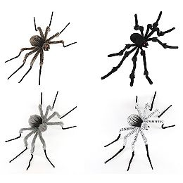 3 ft. LED-Lit Plush Spider Halloween Decoration