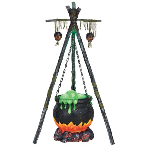 5 ft. Halloween Decorative Bubbling Cauldron with Fire LED Lights