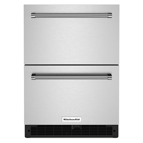 24 Stainless Steel Undercounter Double-Drawer Refrigerator