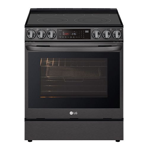 6.3 cu ft. Smart Electric Slide-in Range with Wi-Fi, Air Fry and InstaView in Black Stainless Steel