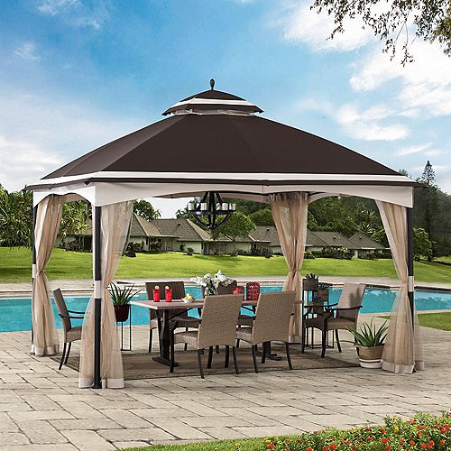 Katy 10.5 ft. x 13 ft. Brown and Tan 2-tier Steel Gazebo with Mosquito Netting