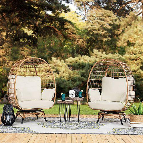 Light Brown Swivel Egg Cuddle Chair