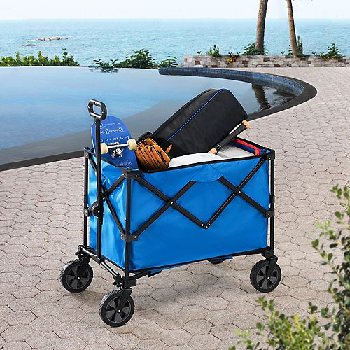Odell 20 cu. ft. Blue Steel Collapsible Folding Wagon Cart with Wheels
