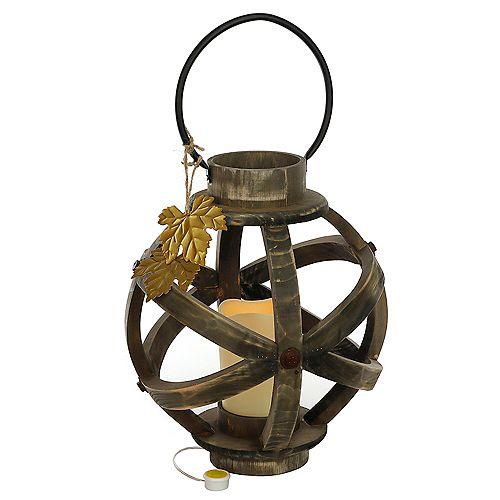 31,7 cm Lanterne en bois à DEL avec feuille d'érable
