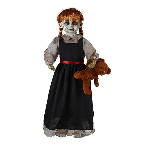 3 ft. Animated LED-Lit Zombie Girl with Bear Halloween Decoration