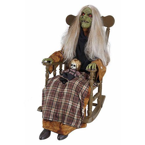 4 ft. Animated LED Rocking Chair Babysitting Witch