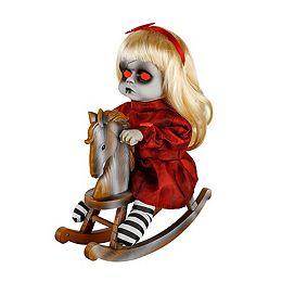 Animated LED-Lit Haunted Doll on a Rocking Horse Halloween Decoration