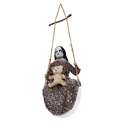 4.5 ft. Animated LED-Lit Swinging Doll Halloween Decoration