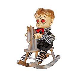 Animated LED-Lit Haunted Boy on a Rocking Horse Halloween Decoration